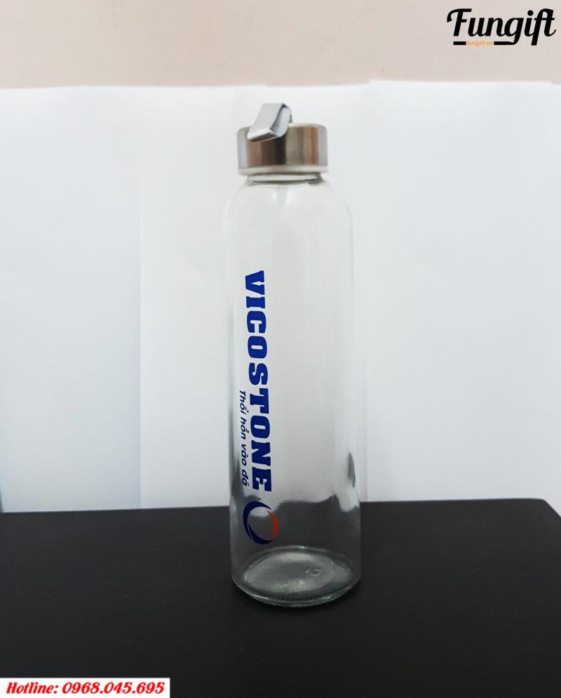 Bình thủy tinh in logo cho công ty cổ phần vicostone