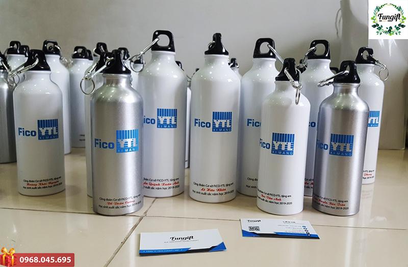 Bình đựng nước nhôm in logo công đoàn cơ cở Fico-TL tặng học sinh giỏi. Quà Tặng Học Sinh Cuối Năm