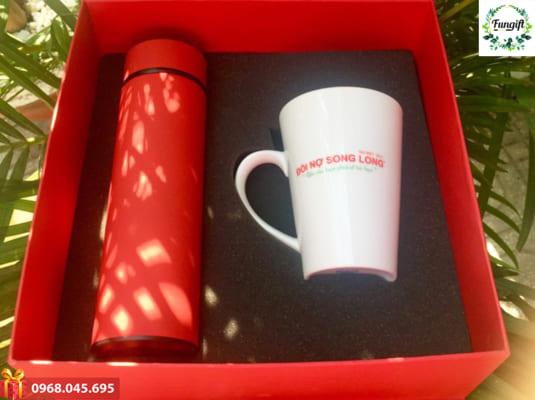 Bộ quà tặng Giftset 17 (Bình giữ nhiệt + Ly sứ)