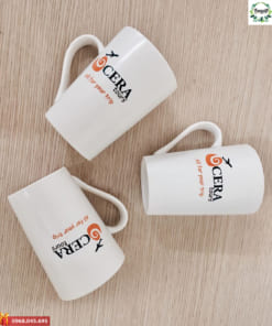 Ly sứ trắng vát cao in logo