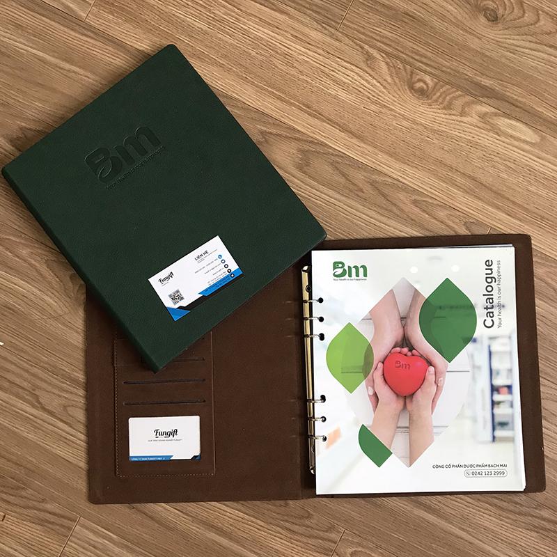 sản xuất sổ bìa da đựng catalogue theo yêu cầu