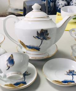 Ấm trà phú quý sen xanh Bát Tràng