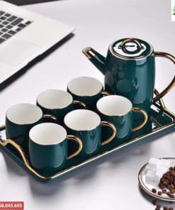 Ấm trà xanh ngọc gốm Bát Tràng cao cấp