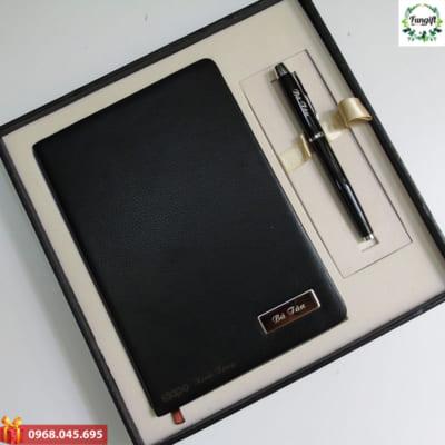 Bộ quà tặng 2 sản phẩm sổ da bút ký