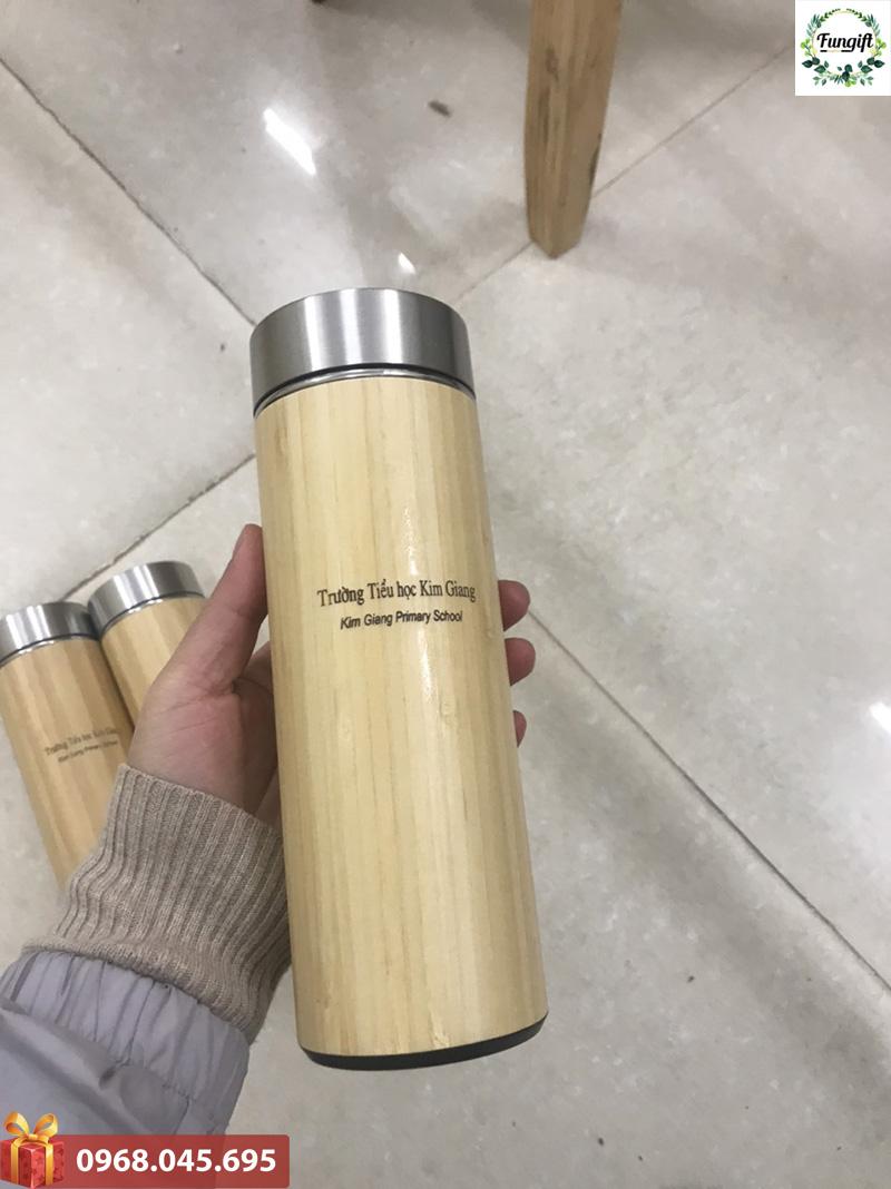 Bình giữ nhiệt gỗ khắc tên