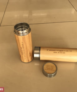 Bình giữ nhiệt vỏ tre khắc logo làm quà tặng