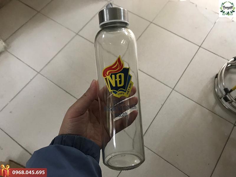 Bình thủy tinh in logo Việt Đức