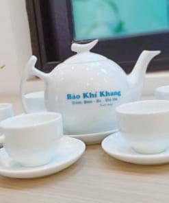 Bộ ấm chén in logo Bảo Khí Khang