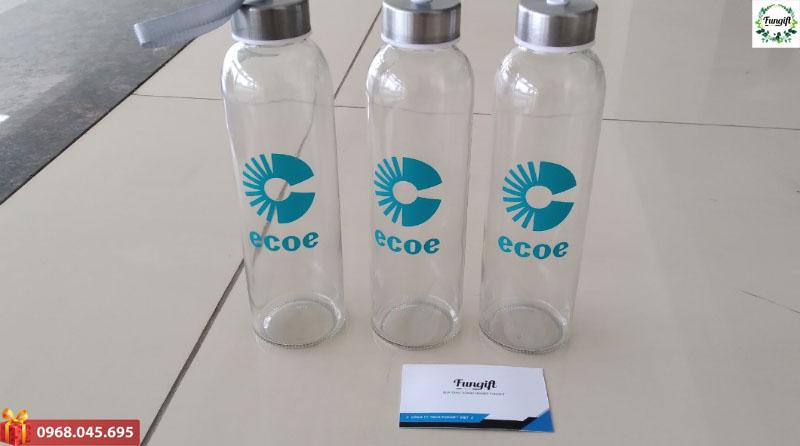 Bình nước thủy tinh 500ml in logo Ecoe