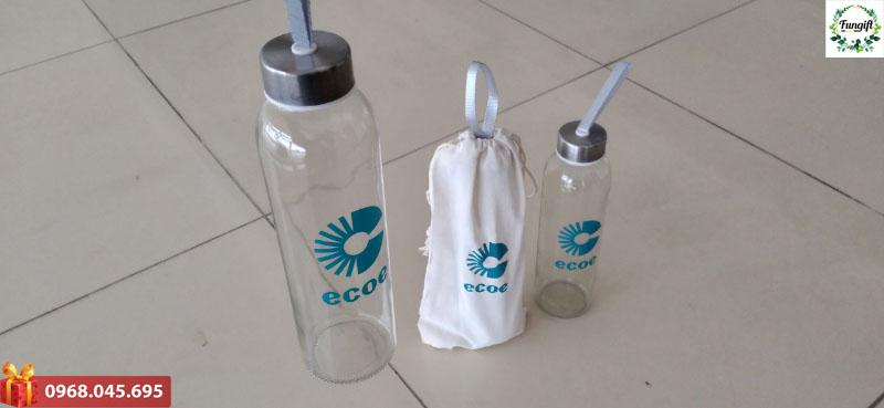 Bình nước thủy tinh in logo