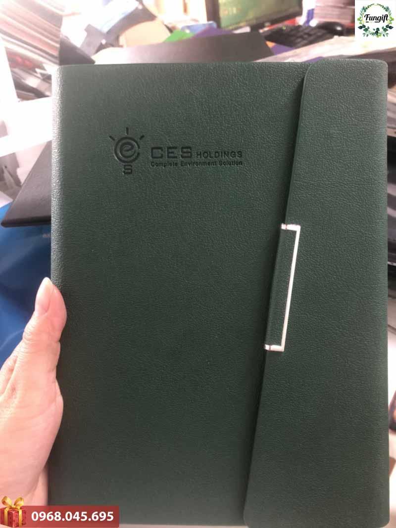 Sổ bìa còng quà tặng in dập logo