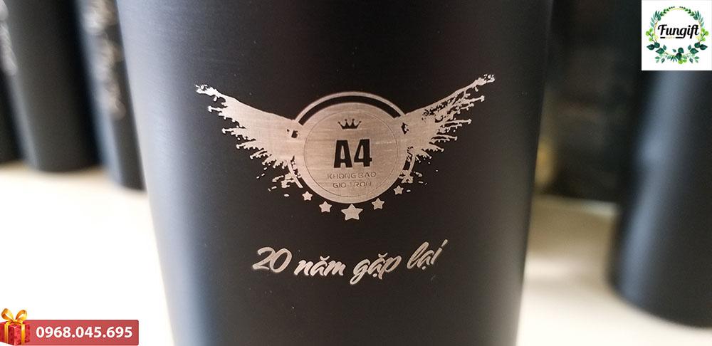 Bình nắp nhiệt độ khắc logo A4