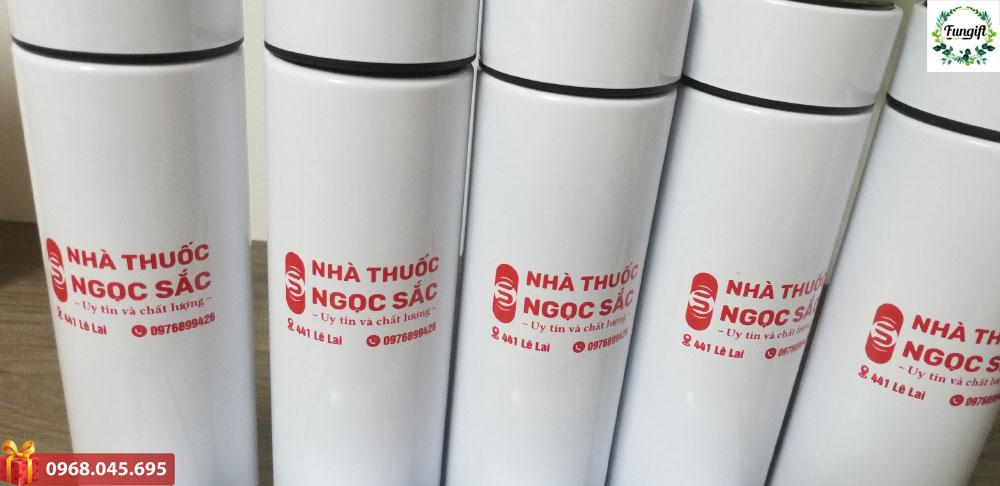 Bình giữ nhiệt in logo nhà thuốc Ngọc Sắc