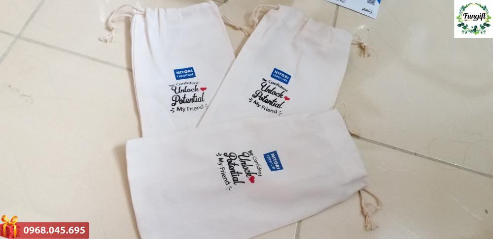 Túi vải đựng bình in logo