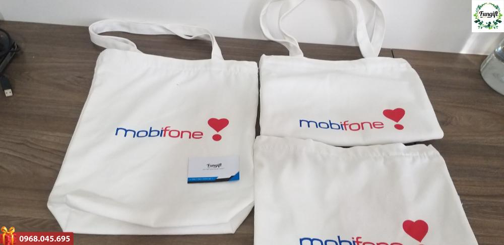 Túi vải canvas in logo Mobiphone