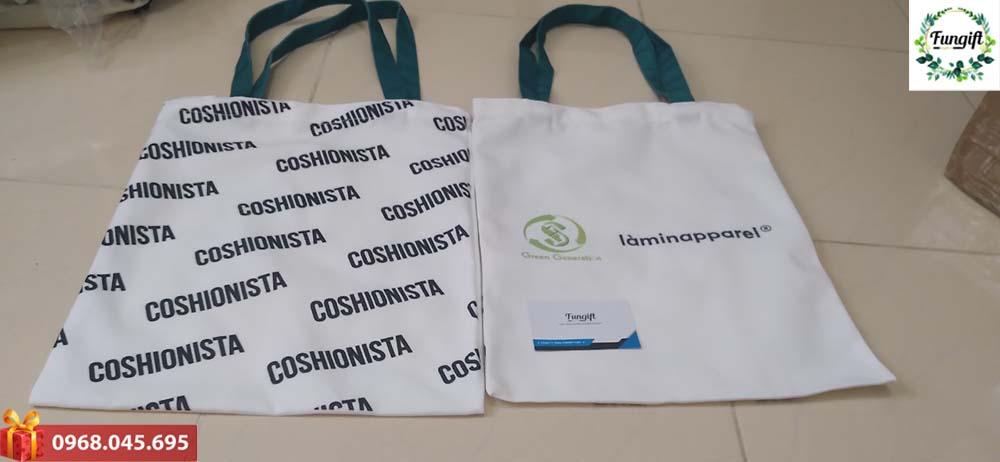 Túi canvas in logo Coshionista