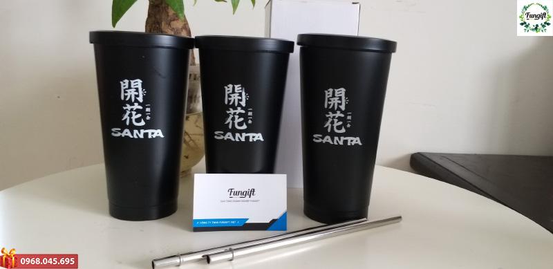 Cốc giữ nhiệt đen in logo Senta
